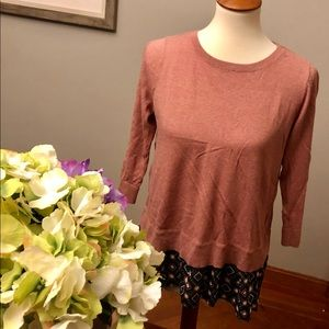 Pink sweater with long back, XS